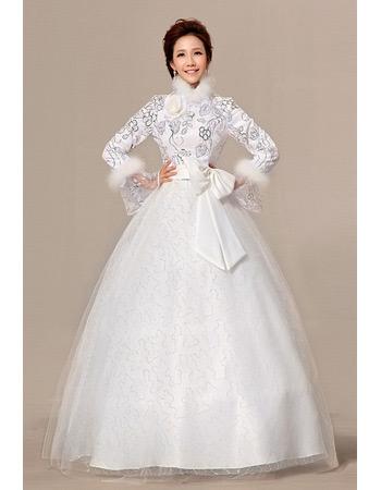 Long Sleeves High-Neck Ball Gown Floor Length Satin Wedding Dresses
