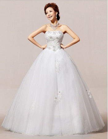 Inexpensive Strapless Floor Length Organza Ball Gown Wedding Dresses