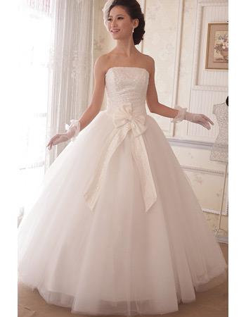 Inexpensive Ball Gown Strapless Floor Length Sequin Wedding Dresses
