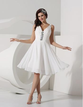 Inexpensive A-Line V-Neck Knee Length Chiffon Beach Wedding Dresses