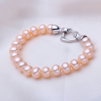 Pink/ White/ Purple 7.5 - 8.5mm Freshwater Off-Round Bridal Pearl Bracelet