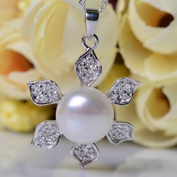 Elegant White Off-Round 11 - 12mm Freshwater Natural Pearl Pendants