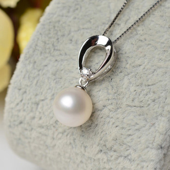Inexpensive White Round 8 - 9mm Freshwater Natural Pearl Pendants
