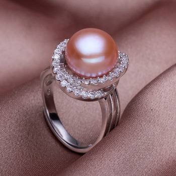 Pink/ White/ Purple 11 - 12mm Freshwater Off-Round Pearl Ring