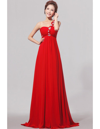 One Shoulder Empire Chiffon Floor Length Bridesmaid Dresses for Spring