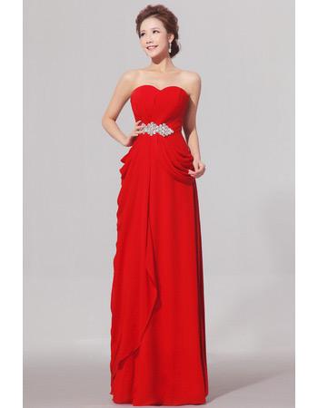 Sweetheart Floor Length Chiffon Sheath Bridesmaid Dresses for Winter
