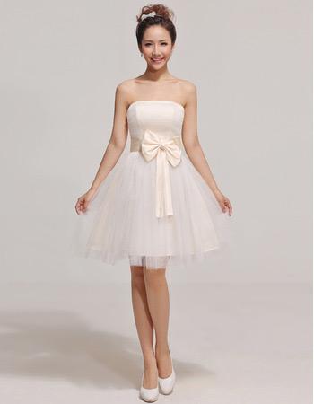 Discount Custom A-Line Strapless Short Satin Organza Bridesmaid Dresses