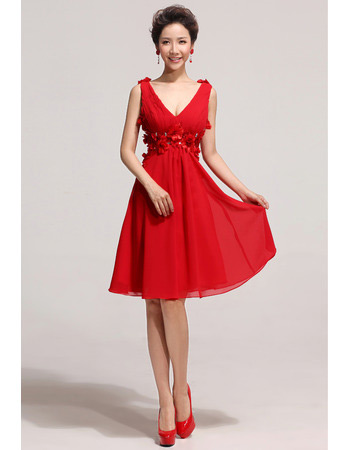 Affordable V-Neck Knee Length Chiffon A-Line Bridesmaid Dresses