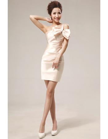 Sexy One Shoulder Column Short Satin Bridesmaid Dresses for Summer