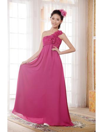 Custom One Shoulder Empire Chiffono Floor Length Bridesmaid Dresses