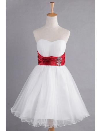 Simple A-Line Sweetheart Knee Length Organza Bridesmaid Dresses