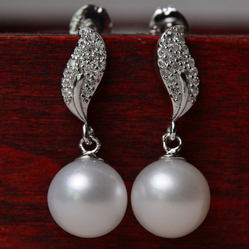 Affordable White 8-10mm Round Freshwater Natural Pearl Earring Set