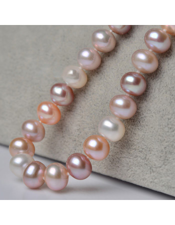 Inexpensive Multicolor 8 - 9mm Freshwater Off-Round Pearl Necklaces