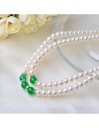 Inexpensive Red/ Green 7 - 8mm Freshwater Off-Round Pearl Necklaces