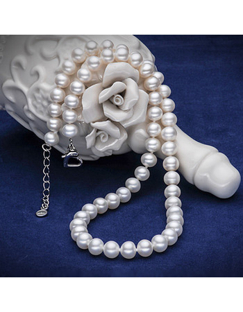 Gorgeous White 7.5 - 8.5mm Freshwater Off-Round Bridal Pearl Necklaces