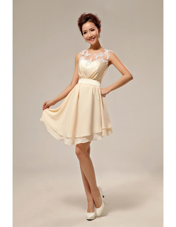 Affordable Elegant Asymmetric Chiffon A-Line Short Beach Wedding Dresses