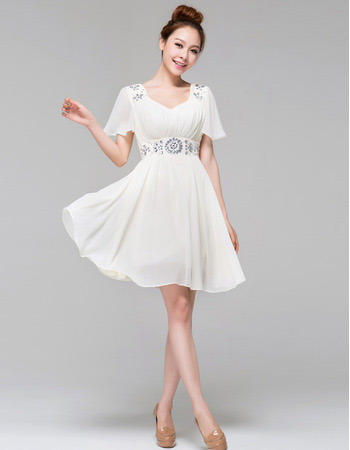 Charming Affordable Casual Short Sleeves Chiffon Short Beach Wedding Dresses. U003e