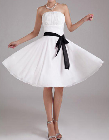 Chiffon A-Line Strapless Knee Length Dresses for Summer Beach Wedding