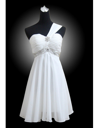 Discount Chiffon One Shoulder Empire Short Beach Wedding Dresses