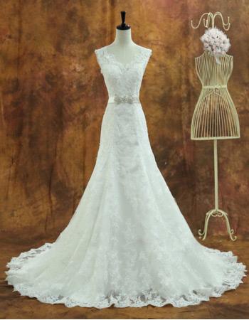 Vintage Organza Sweetheart Chapel Train A-Line Wedding Dresses