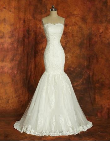 Mermaid Organza Sweetheart Brush Train Dresses for Spring Wedding