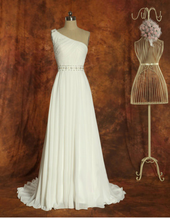 Inexpensive One Shoulder Chiffon Sweep Train A-Line Wedding Dresses