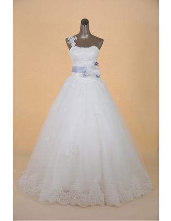 Classic One Shoulder A-Line Brush Train Satin Wedding Dresses