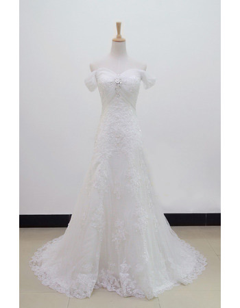 Off-the-shoulder Organza A-Line Sweep Train Dresses for Spring Wedding