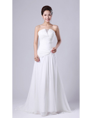 Sexy Chiffon Strapless Sweep Train A-Line Wedding Dresses for Spring