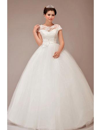 Affordable Short Sleeves Ball Gown Floor Length Wedding Dresses
