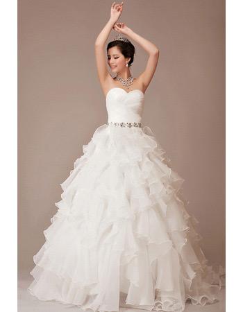 Elegant A-Line Sweetheart Organza Floor Length Wedding Dresses