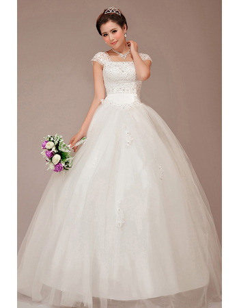 Discount Cap Sleeves Square Ball Gown Floor Length Wedding Dresses