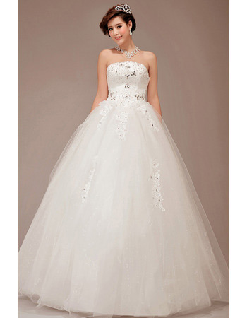Sexy Ball Gown Strapless Floor Length Organza Wedding Dresses
