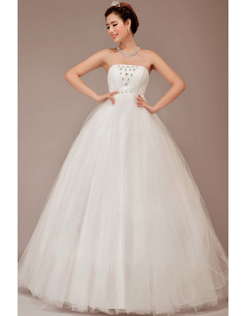 Strapless Ball Gown Floor Length Organza Dresses for Spring Wedding