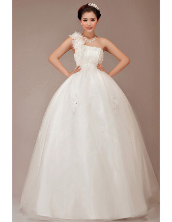 Elegant One Shoulder Ball Gown Floor Length Wedding Dresses