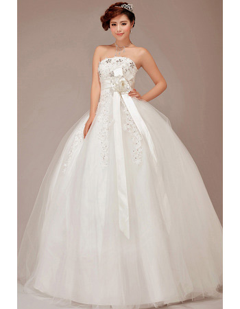 Strapless Ball Gown Organza Wedding Dresses with Sashes for Spring