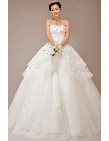 Custom Tiered Skirt Ball Gown Strapless Long Wedding Dresses
