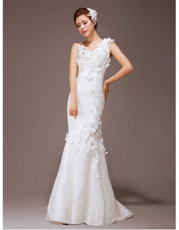 Affordable Sexy Mermaid/ Trumpet Lace Sweep Train Wedding Dresses