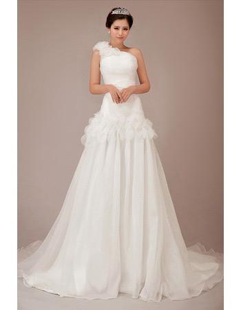 One Shoulder Chiffon Chapel Train A-Line Wedding Dresses for Spring