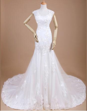 Custom Sexy Mermaid/ Trumpet Chapel Train Satin Wedding Dresses
