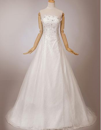 Discount Elegant A-Line Lace Strapless Sweep Train Wedding Dresses