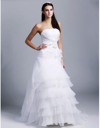 Elegant Vintage A-Line Strapless Sweep Train Organza Wedding Dresses