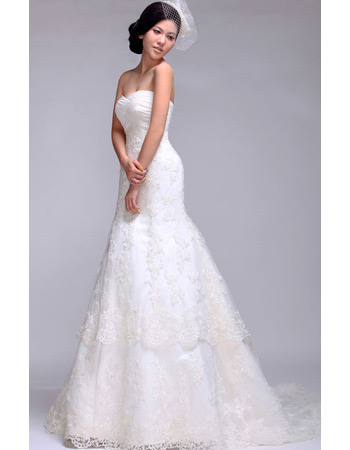 Lace Sweetheart A-Line Sweep Train Wedding Dresses for Spring