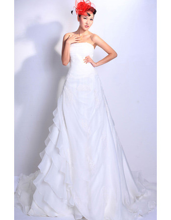 Discount Tiered Chapel Train Organza Strapless Wedding Dresses