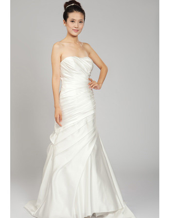 A-Line Strapless Sweep Train Satin Wedding Dresses for Spring