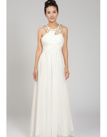 Custom Chiffon Round Neck Floor Length Sheath Wedding Dresses