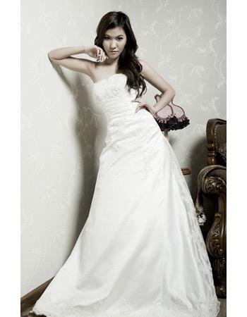 Inexpensive A-Line Strapless Court Train Satin Wedding Dresses