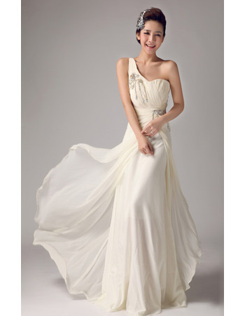 Affordable Chiffon One Shoulder Brush/ Sweep Train Wedding Dresses