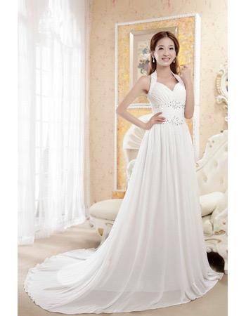 Elegant Sexy Halter Chiffon A-Line Court Train Wedding Dresses