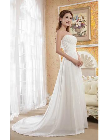 A-Line Chiffon Sweetheart Sweep Train Dresses for Spring Wedding